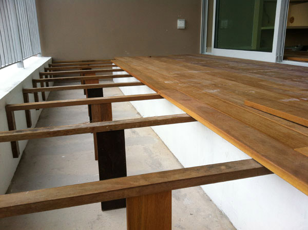 Installation process wood decking timber decking iron for How to install decking