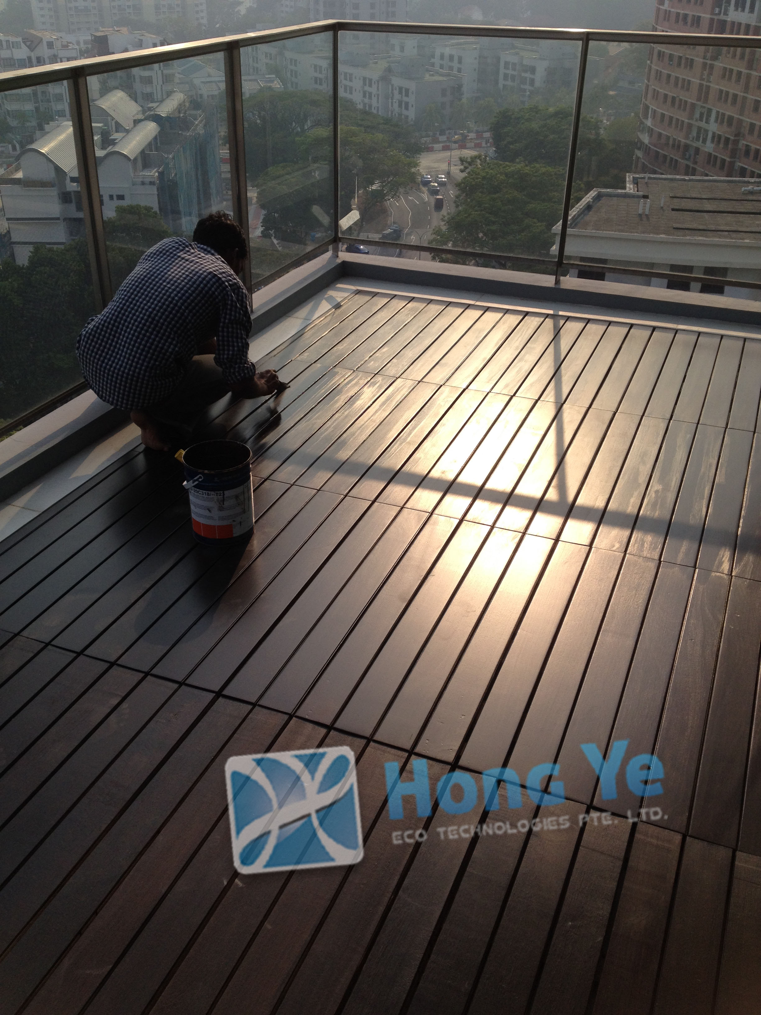 Singapore Timber Decking at Minton Full Balcony