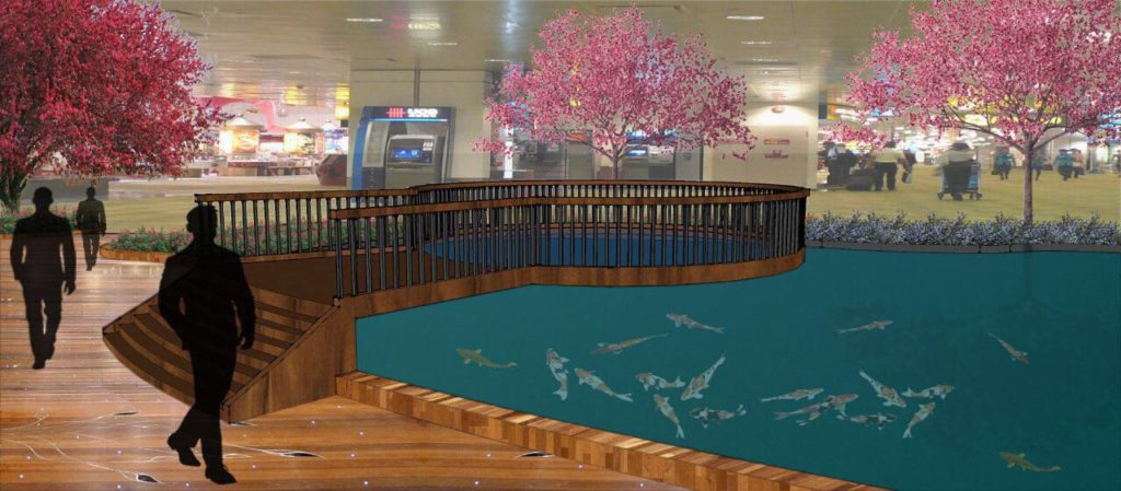 hongye timber decking design changi airport indoor garden 3